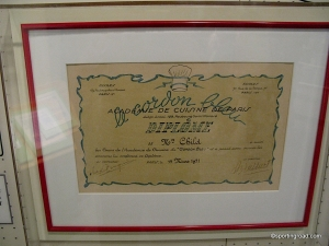 Julia Child Cordon Blue Certificate