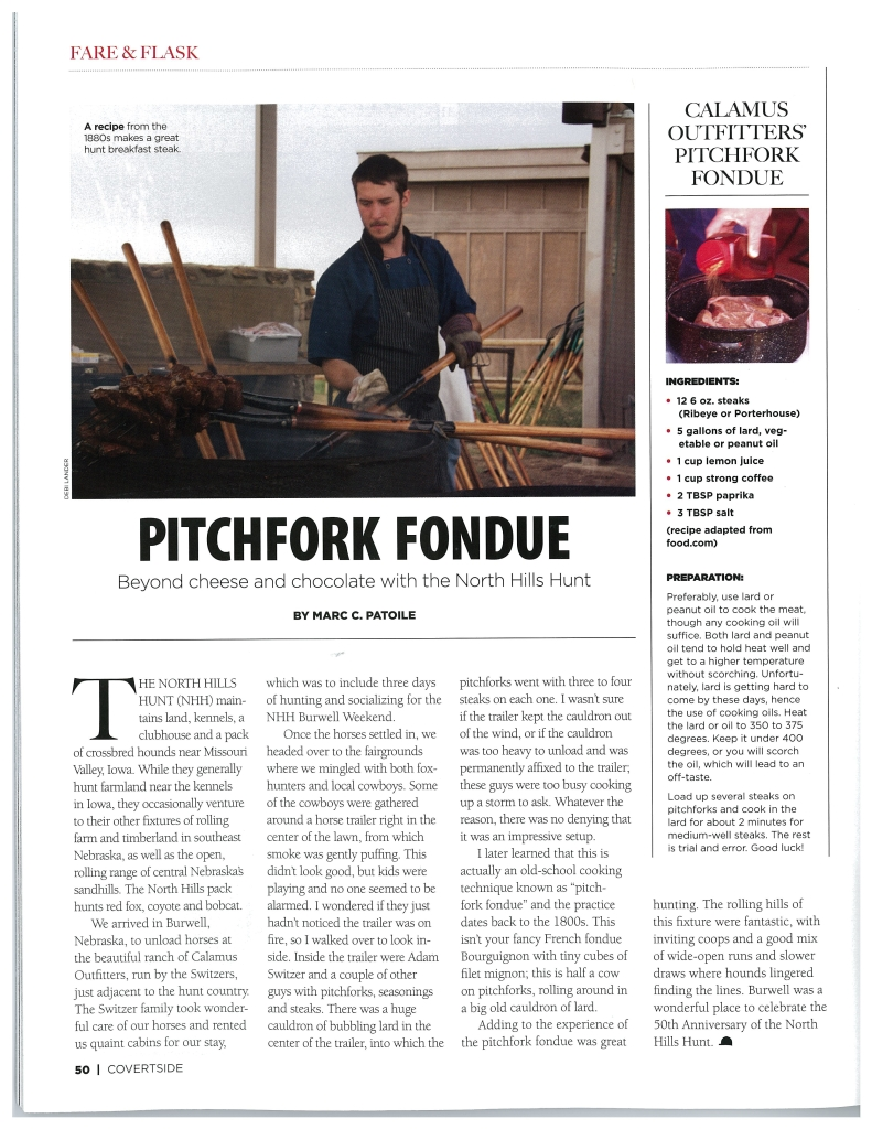Pitchfork Fondue Article with the North Hills Hunt as Featured in Covertside